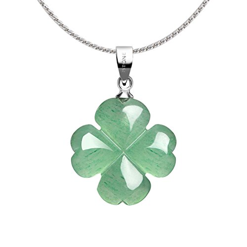 4 Four Leaf Clover Pendant (iSTONE Four Leaf Clover Pendant Necklace Green Aventurine Gemstone Pendant Necklace 18