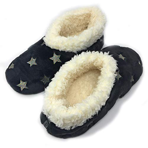 - JYinstyle Women's Glitter and Stars The Starz Blk Plush Slippers S (Shoe Size 5/6)