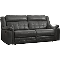 "Homelegance Keridge 85"" Reclining Sofa, Gray"