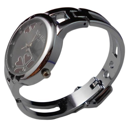 BestOfferBuy Women Fashion Lucky Four Leaf Clover Bangle Bracelet Wrist Watch Black