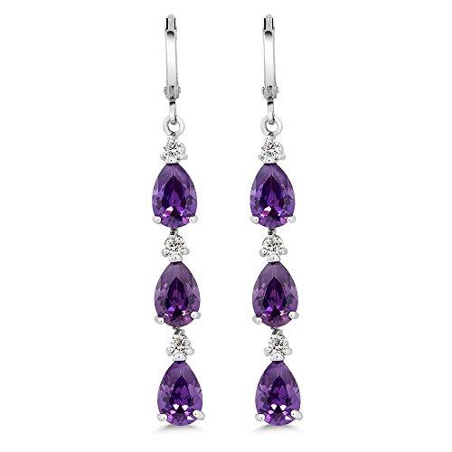 Gem Stone King Stunning 2inches Purple Pear Shape CZ Zirconia Rhodium Plated Dangle Earrings