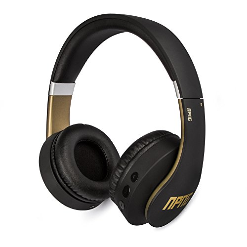 No Proof No Glory NP-2 Bluetooth Wireless/Wired Over-Ear Headphones | Stereo | Adjustable | Flex Anti-Tangle Cable | Microphone | Remote Control - Black/Gold ()