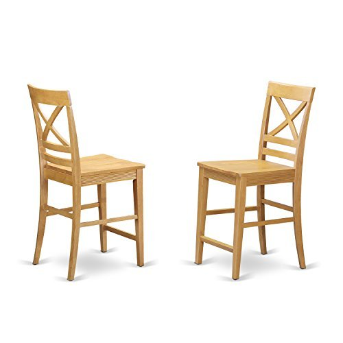 Back Chair Pressed (QUS-OAK-W Quincy Counter Height Stools With X-Back in Oak finish-Set of 2)