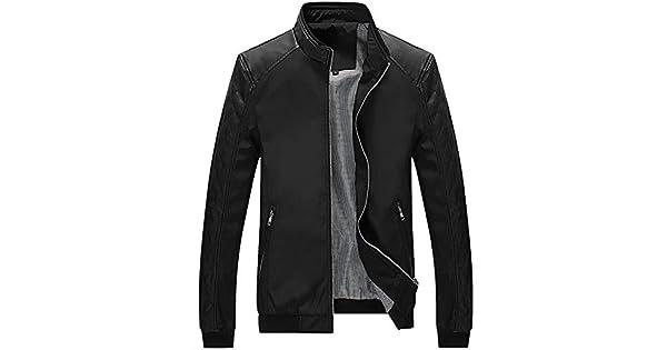 Amazon.com: Chaqueta de piel térmica con botón de bolsillo ...