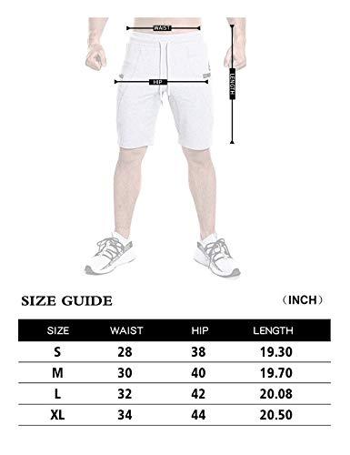 SAMZUEO Mens Elastic Waist Workout Shorts with Sidelock Zipper Pockets