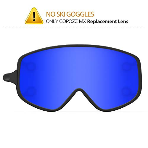 COPOZZ MX Ski Goggles Replacement Lenses, Extra Snow Snowboard Goggles Lenses, Imported Double-Layer Anti Fog UV Protection Lenses Only