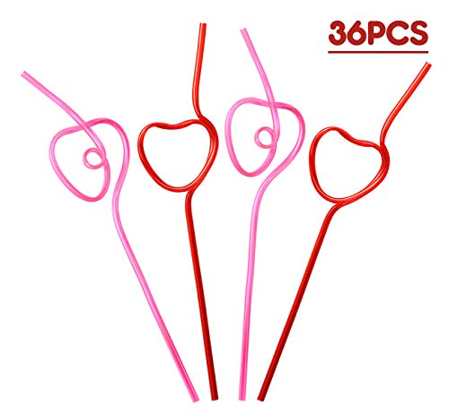 Heart Shaped Silly/Crazy Drinking Straws, 36 count
