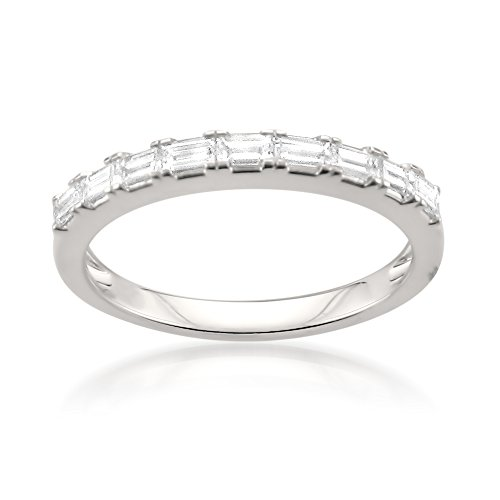 14k White Gold Baguette Diamond Bridal Wedding Band Ring (1/2 cttw, I-J, VS2-SI1), Size 6 ()