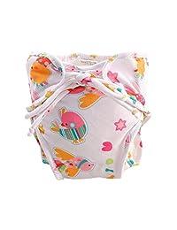 Adjustable Infant Swim Diaper with Ties, Size Medium, [White, Bird]