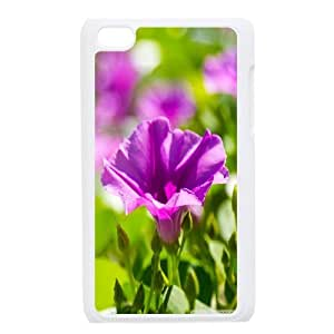 violet flowers 7 Ipod Touch 4 Cases, Unique Design Ipod Touch 4 Cases For Girls Bloomingbluerose {White}