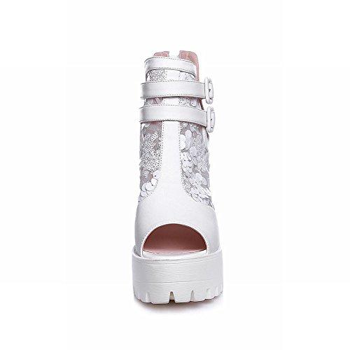 Carolbar Womens Peep Toe Zip Multi-fibbia Voile Maglia Paillettes Moda Piattaforma Stivali Tacco Alto Estate Bianco