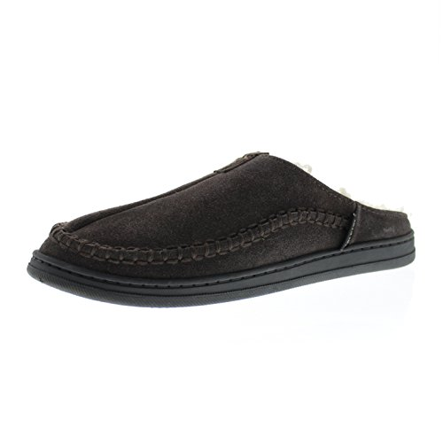 Gold+Toe+Premier+Men%27s+Randall+Memory+Foam+Cow+Suede+Sherpa+Lined+Whipstitched+Slip-On+Clog+Mule+Slipper+Brown+11+D%28M%29+US