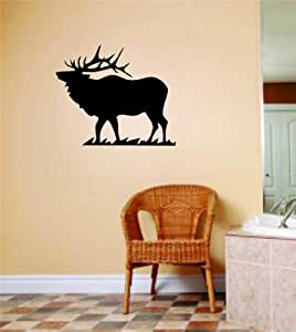 Deer Buck Moose Image Animal Hunting Hunter Man With Gun picture Art - Boys Kids Bed Room Sports Hobbies - Peel & Stick Sticker - Vinyl Wall Decal - Size : 6 Inches X 12 Inches - 22 Colors Available