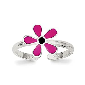 Lex & Lu Sterling Silver Pink Enameled Floral Toe Ring