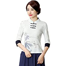 Shanghai Story Women's Linen Tang Suit 3/4 Sleeve Chinese Shirt Blouse Top