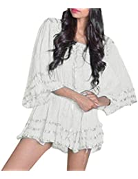 Minisoya Womens Scoop Neck Vintage Lace Splice Tunic Dress Top Loose Plus Size Batwing Sleeve Blouse Tops