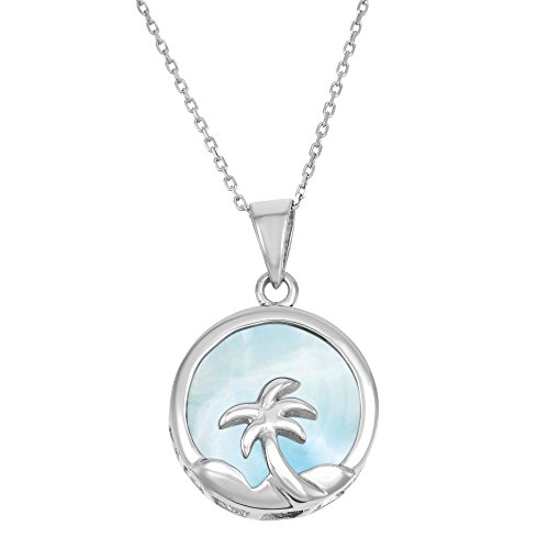 Sterling Silver Natural Larimar Palm Tree Circle Pendant with 18