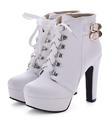 Aisun Womens Trendy Round Toe Buckled Platform Dress Lace Up Booties Ankle Boots Block High Heels Shoes White coN6F9