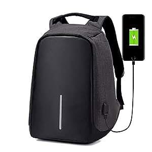 Mochila Backpack Antirrobo Negro con Puerto USB para Cargador Portatil (NO Incluido) Espacio para Laptop Tablet, Cámara, Varios Compartimientos y Bolsillos Ocultos. (Negro)