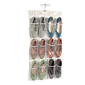 Richards Homewares - Clear Vinyl 12 Pocket Shoe Caddy with Hanger