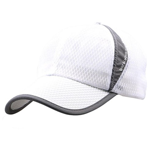 Voberry Men and Women Snapback Baseball Cap Outdoor Sports Mesh Hat (white)