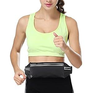 VASKER Running Belt Water Resistant Reflective Stripe with 3 Pockets Elastic Waist Pack