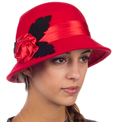 Vintage Style Wool Cloche Hat - Red - One Size (Cloche Style Red Wool Hat)