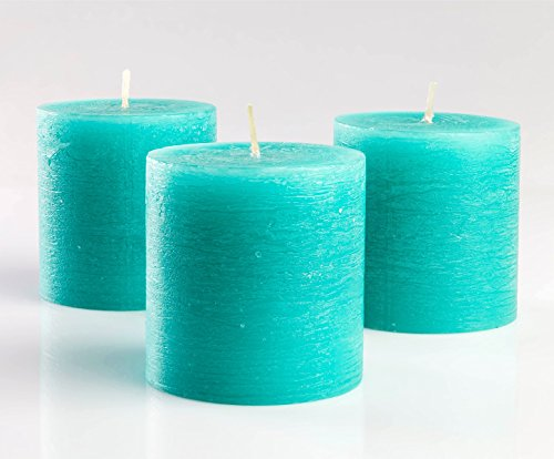 Set of 3 Turquoise Pillar Candles 3 x 3 Unscented Rustic for Wedding Home Decoration Restaurants Spa Church Candles Smokeless and Dripless
