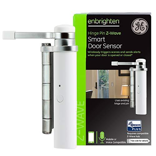 GE Enbrighten Z-Wave Plus Smart Door Sensor, Left or Right Opening, Attaches to Existing Door Hinge, Works with Alexa, Google Assistant, ZWave Hub Required, 32563