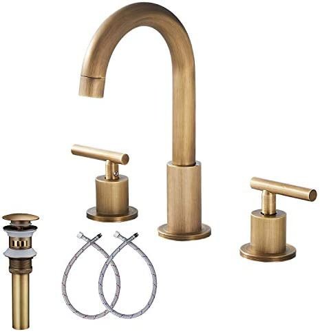 GGStudy 2-Handle Bathroom Faucet 3 Holes 360 Swivel Spout Antique Brass Widespread Bathroom Sink Faucet with Pop Up Drain