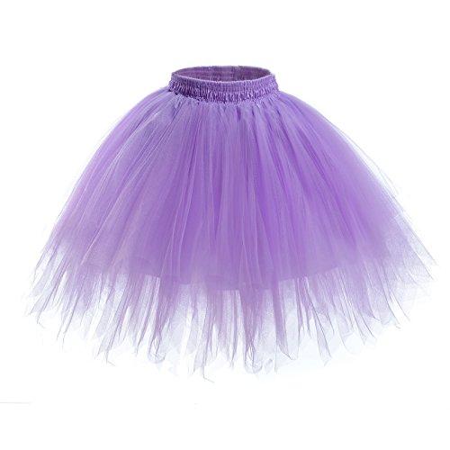 Womens Short Ballet Tutu Skirt - Elastic Vintage Petticoat Adult Bubble Skirt (Purple-L ()
