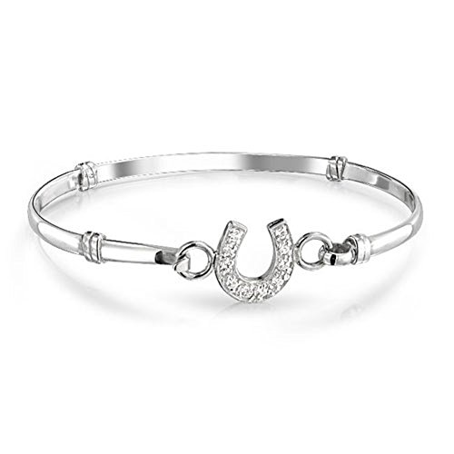 LilyJewelry White Synthetic Crystal Horseshoe Bangle Equestrian Bracelet