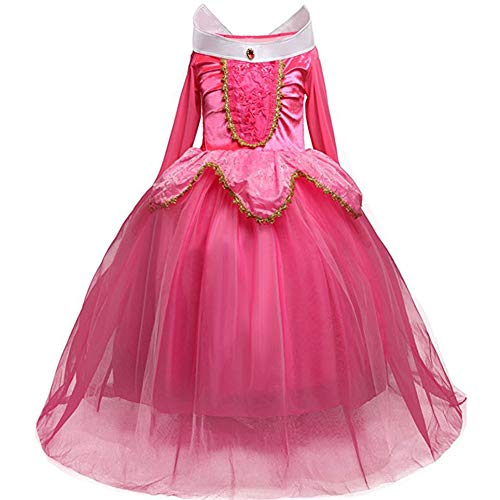 Fancy Dress, Girls' Princess Belle Costumes Princess Dress Up Halloween Costume Dress for Gilrls Age 4-9 Year (4 Years)]()