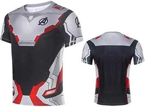 Pandolah 3D Avenger's Endgame T-Shirt Quantum Realm Cosplay Costume Quick Dry Sports Suit Shirt Pants(2XL(Tag 3XL),Short -