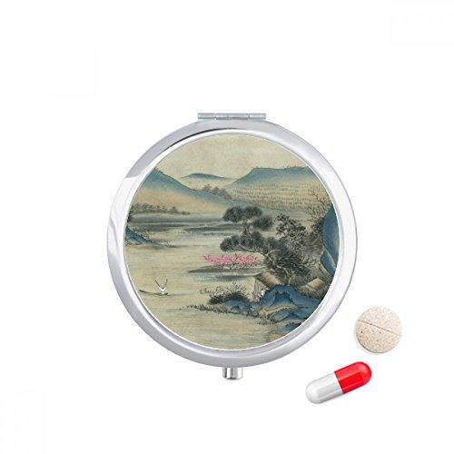 (Hills Fishing Boat Chinese Painting Travel Pocket Pill case Medicine Drug Storage Box Dispenser Mirror Gift)