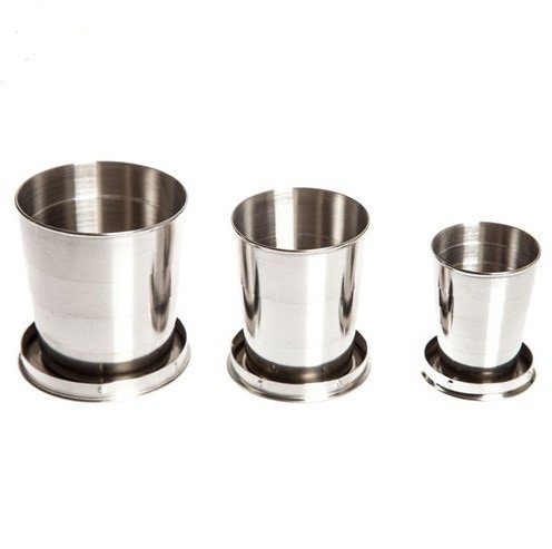Ezyoutdoor 3 pcs Collapsible Cup Stainless Steel Portable Folding Metal Telescopic Keychain Cups Mug for Excursion Outdoor Travel Camping Picnic Hiking Backpacking Bivouac 240ml /150ml /75ml per piece