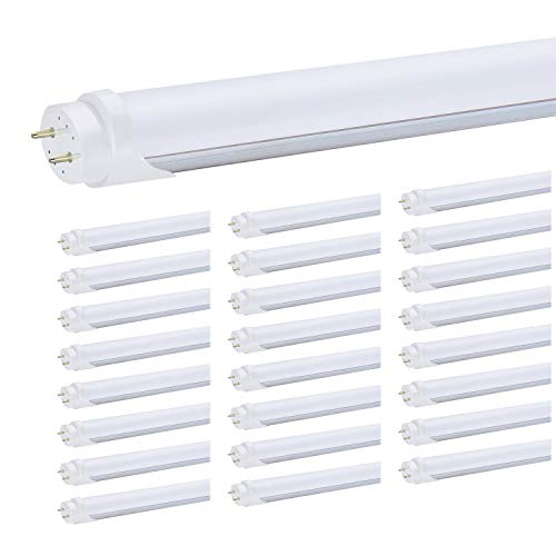 T8 4FT LED Light Tubes - 24W 5000K Daylight White, 3000LM, JESLED Dual Row T10 T12 Fluorescent Bulbs Replacement, Frosted, Dual-End Powered, Bypass Ballast, Garage Warehouse Shop Lights ()