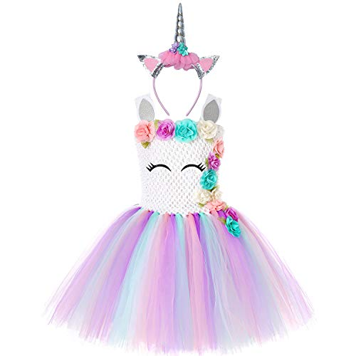 Soyoekbt Unicorn Tutu Dress for Girls Kids Birthday Party Unicorn Costume with Headband (3-4Years, White) ()