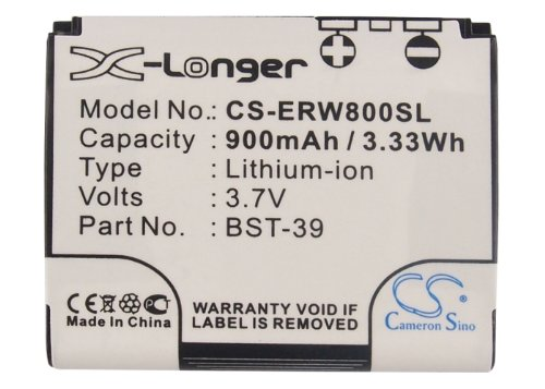 Cameron Sino 900mAh / 3.33Wh Li-ion High-Capacity Replacement Batteries for Sony Ericsson W910i, W580i, W700i , fits Sony Ericsson - Ion Ericsson Lithium Cell Phone