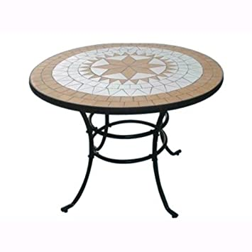 Table Ronde en Acier avec marqueterie mosaïque pour ...