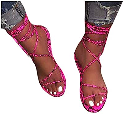 Haomigol Women Gladiator Strappy Flat Sandals Criss Cross Snakeskin Strap Lace Up Open Toe Wide Width Slippers Sandals at  Women's Clothing store