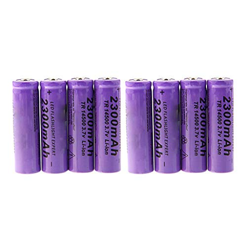Sodoop [8-Pack Li-ion 14500 Batteries, 3.7V 2300 mAh Lithium Rechargeable Cylindrical Battery for Garden Lights, Solar Lamps, LED Flashlights,Power Tools Etc