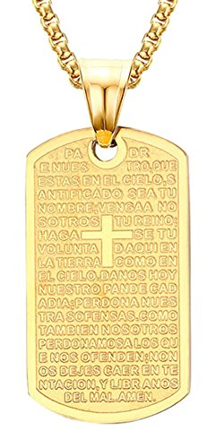 Xusamss Fashion Plated 18K Gold Titanium Steel Cross Scripture Dog Tag Pendant Chain Necklace