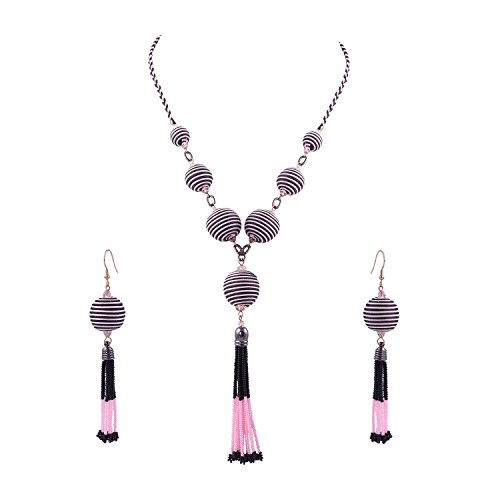 Necklace Set Seed Bead (El Allure Druzy Tassel/Seed Bead/Pink /Black/Long/Thread/Designer/Bollywood Style/Unique/ Latest/Wooden Bead Necklace Set with Earring for Women)