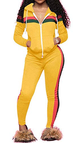 - TOP-MAX Women 2 Pieces Tracksuit Ladies Zipper Playsuits Sportswear Strip Hooded Zip up Sweatshirt Hoodies + Pants Trousers (Yellow@1, M)