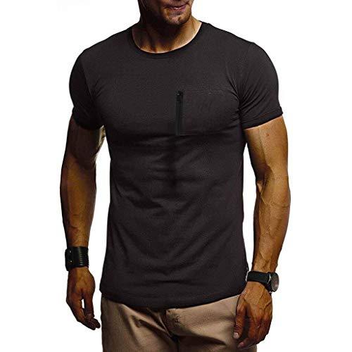 Farmerl Men's Slim Fit Athletic Bodybuilding Crew Neck Muscle Basic T-Shirts Black ()