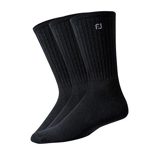 New Improved 2017 FootJoy ComfortSof Men's Crew Socks - Black - 3 Pair Pack