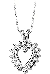 14K Yellow/White Gold 1/3 ct. Diamond Heart Pendant with Chain