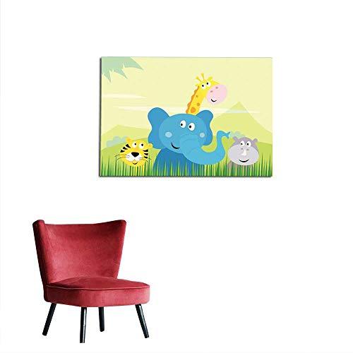 Home Decor Wall Cute Safari Jungle Animals - Tiger Elephant Giraffe and Rhinoceros Mural 24