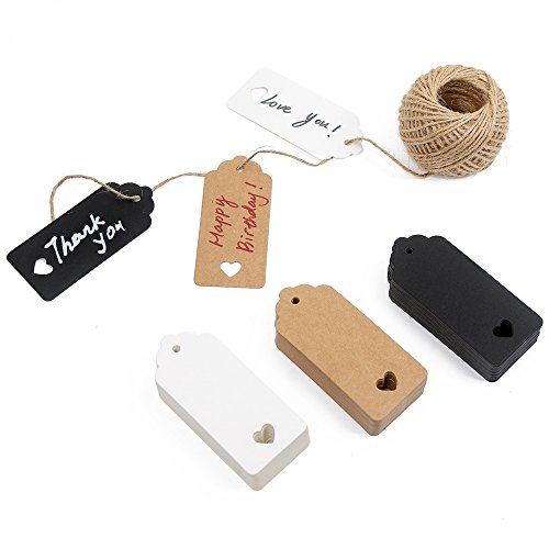 Jar Tags - 150ct Kraft Gift Tags Labels with String (3 Colors)